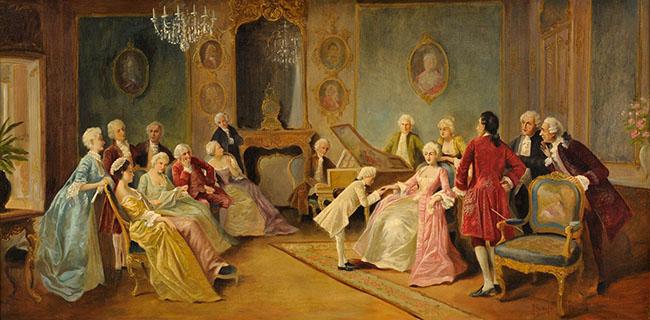 Konstverk av Mozart som ung