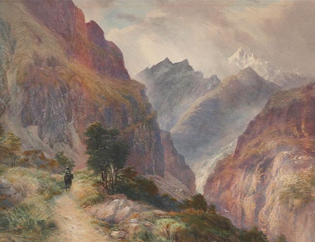 Målning av Alperna