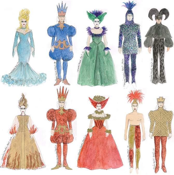 Kostymskisser till musikalen Pippin